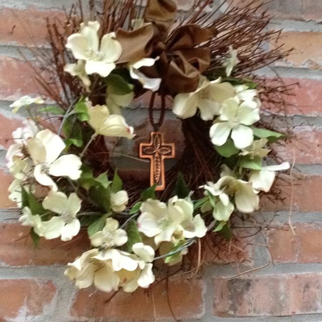 Dogwood And Cross Easter Wreath