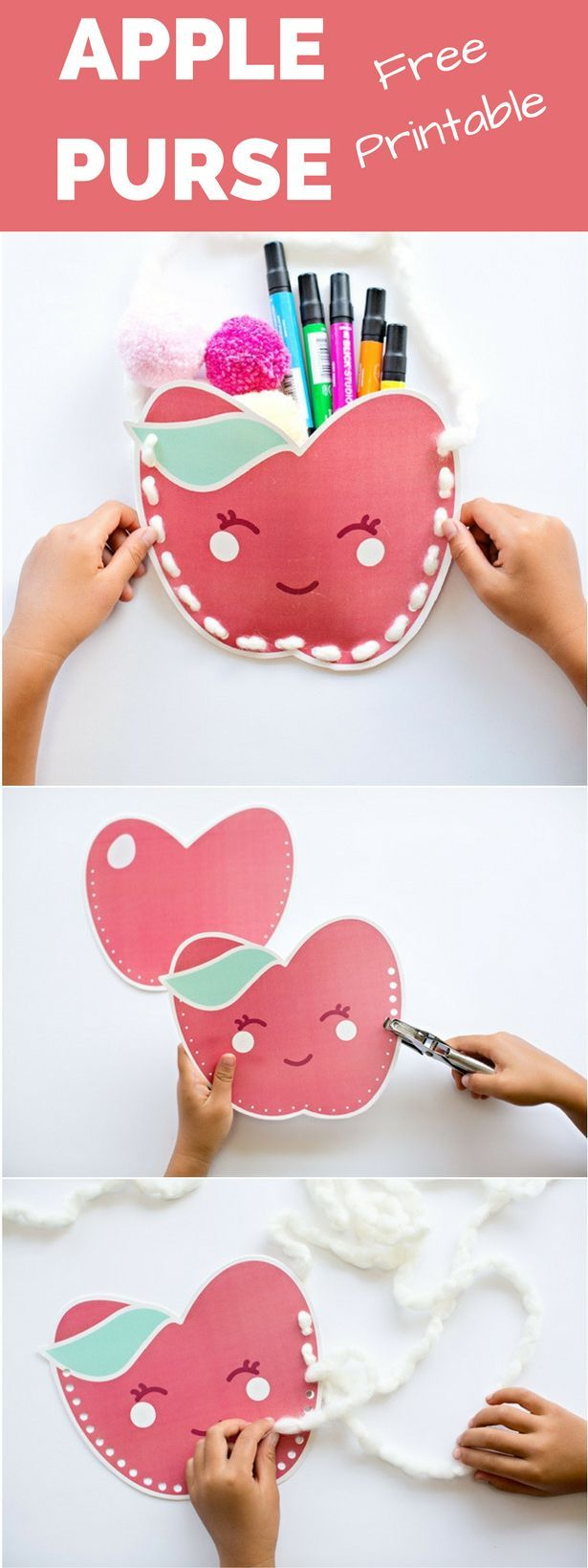 Cute Free Printable Kawaii Apple Purse. Stuff these with treats or goodies for the kids to celebrate fall and back to school!