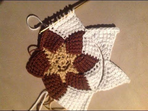 Tunisian Crochet - Entrelac new beginning of a triangle - YouTube NOT English