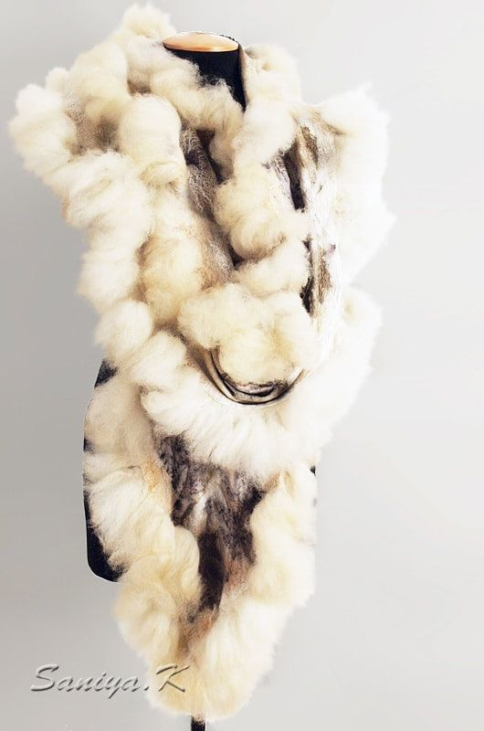 "Scarf Boho Felted ""Eco print + Eco fur"" (handmade scarves boho-chic buy)"