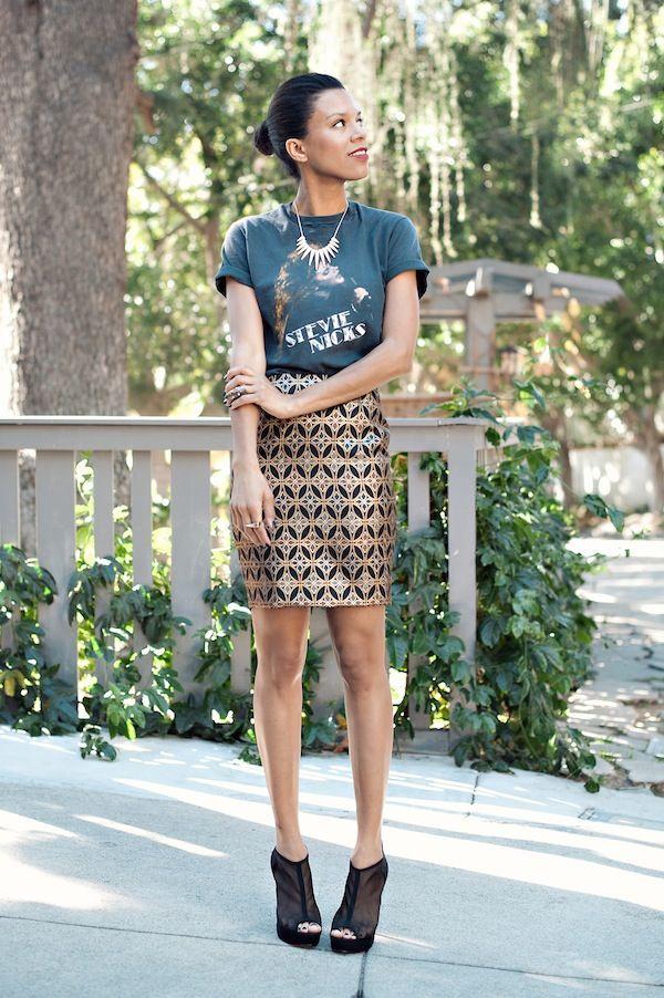 skirtastic! brocade skirt with vintage stevie nicks t-shirt & forever 21 heels ootd
