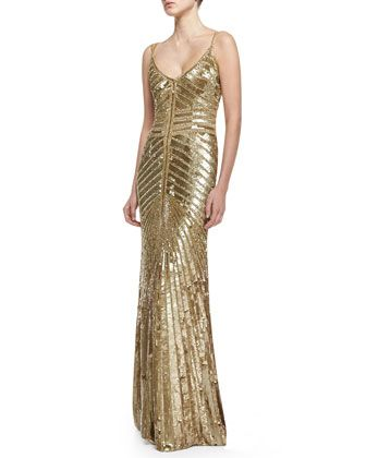 Spaghetti Strap Beaded Deco Gown, Gold by Theia by Don O\'Neill at Neiman Marcus.