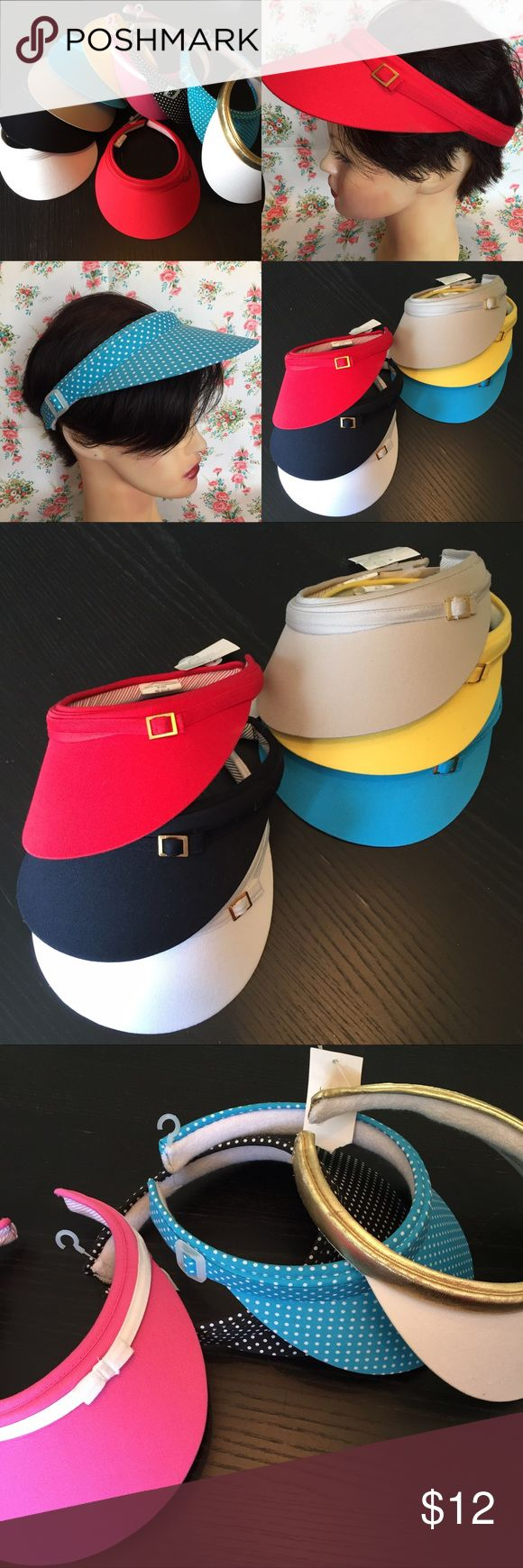 Vintage new sun Visors hats pick your color New old stock cute and practical sun visors. New with tags, Blue/teal is missing its tag.  This listing is for one please pick your color slight differences in hardware.  small gold buckle comes in, Red black white tan yellow or blue Pink has white trim and small bow. white with gold trim  clear buckle come in, blue polkadot or black polkadot. Vintage Accessories Hats