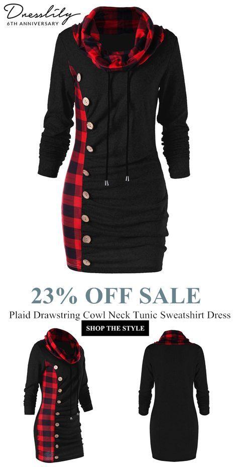 c02311bcfaa Free shipping over  39. Plaid Drawstring Cowl Neck Tunic Sweatshirt Dress.   Coupon  DL6GO 12%OFF OVER  50  dresslily  sweatshirt