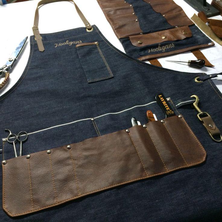 Custom made barber apron and tool roll #denim #selfedge #leather #hooligans…