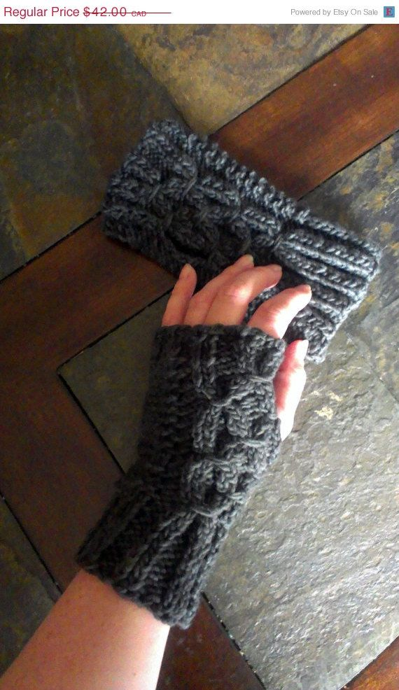 ON SALE Hand knit Fingerless gloves charcoal by DOVIESlovingKNITS, $33.60