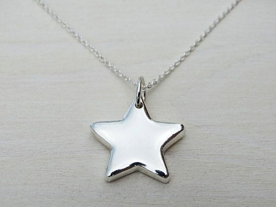 Solid Silver Star Necklace  Sterling Silver