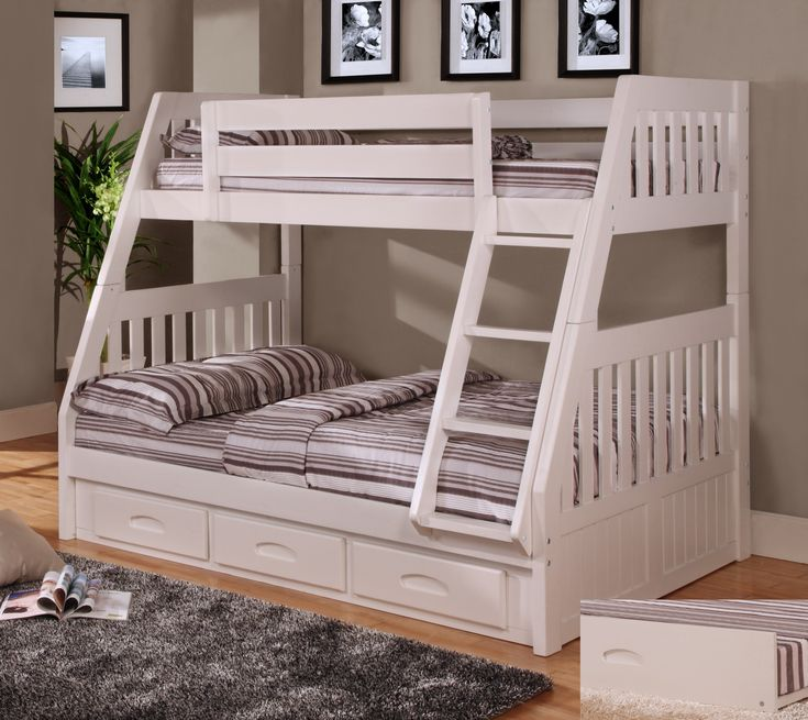 Bedroom Twin Over Full White Bunk Beds