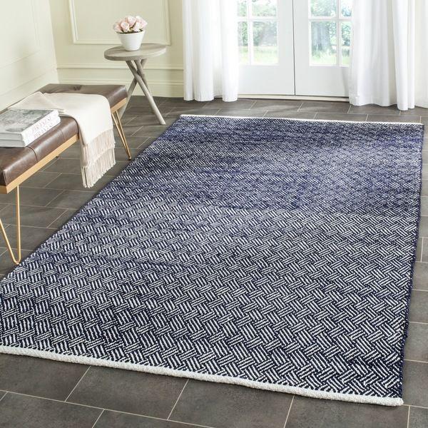safavieh handtufted boston navy cotton rug 5u0027 x 8u0027 bos680d5 blue size 5u0027 x 8u0027