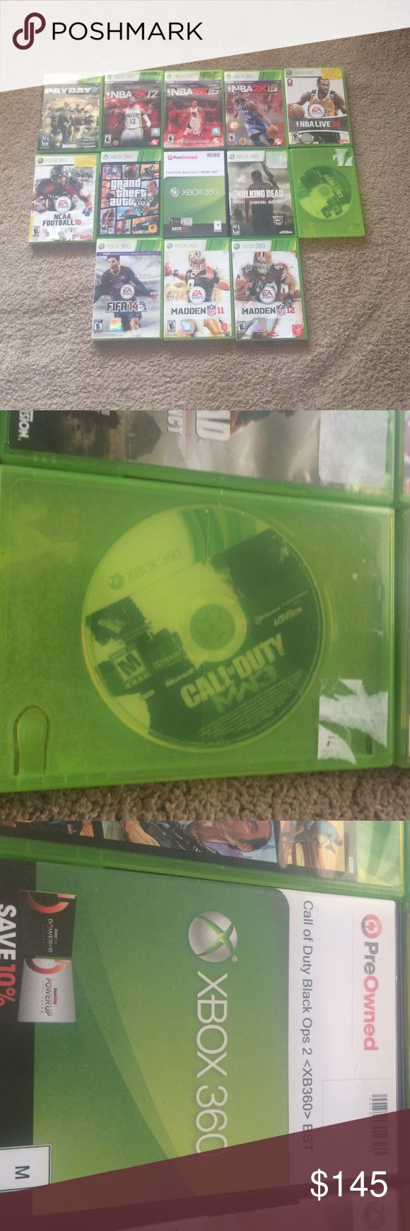 Xbox 360 games Excellent condition, payday 2, nba2k17, NBA2k16, NBA2k15, NBAlive08, NCAA football 10, GTA 5, bo2, walking dead, mw3, FIFA 14, madden 11, madden 12. I'm asking $145, but I will take $12 for each game xbox 360  Accessories