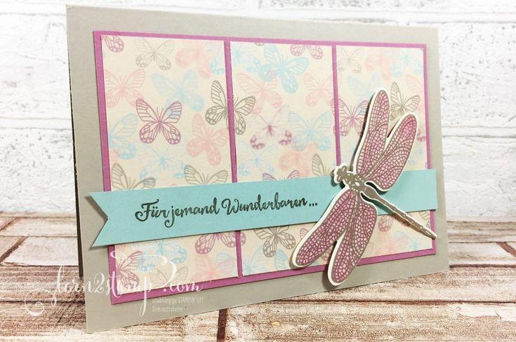 born2stamp STAMPIN' UP! Geburtstagskarte - Li(e)belleien - Thinlits Libelle - DSP Zum Verlieben