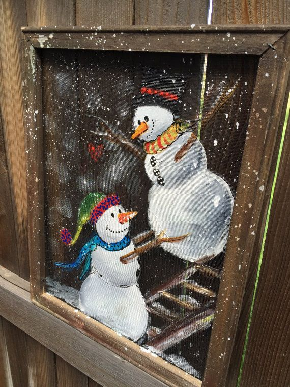 Snowman painted on screen recycled personalize by RebecaFlottArts