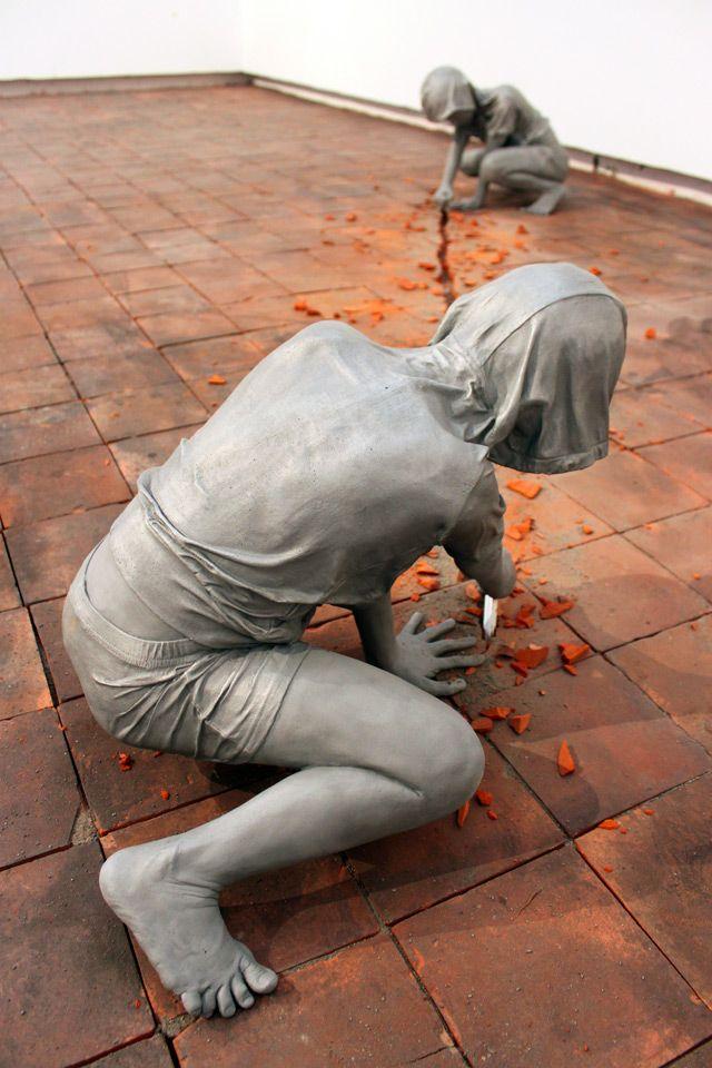 Gregor Gaidas Aluminum Boys Destroy Art Gallery Floors