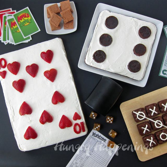 Hungry Happenings: Family Game Night Snacks  10 of Hearts Strawberry Dessert Pizza Frosted Brownie Dice and Tic Tac Toe Brownies