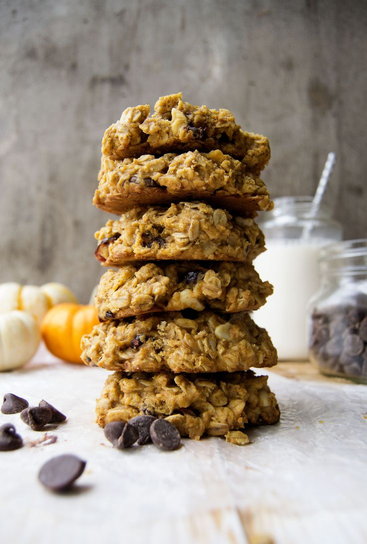 Kürbis-Haferflocken-Cookies gestapelt