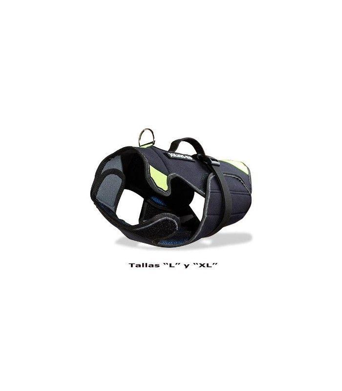 Arnés JULIUS K9 de neopreno ideal para natación y control en los deportes de agua. Tallas S: 44 a 64 cm M: 52 a 72 cm L : 65 a 82 cm XL: 75 a 92 cm