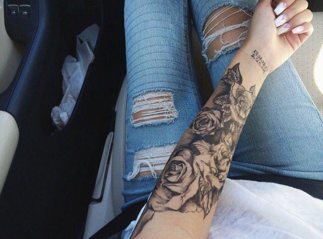 Rose Tattoos For Filler On Bicep Around Skull Connect Skull W