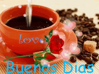 Ver imagen de una taza de café muy caliente acompañado de una linda rosa roja granos de café y corazones con brillo y movimiento junto a la frase: Love Buenos Días