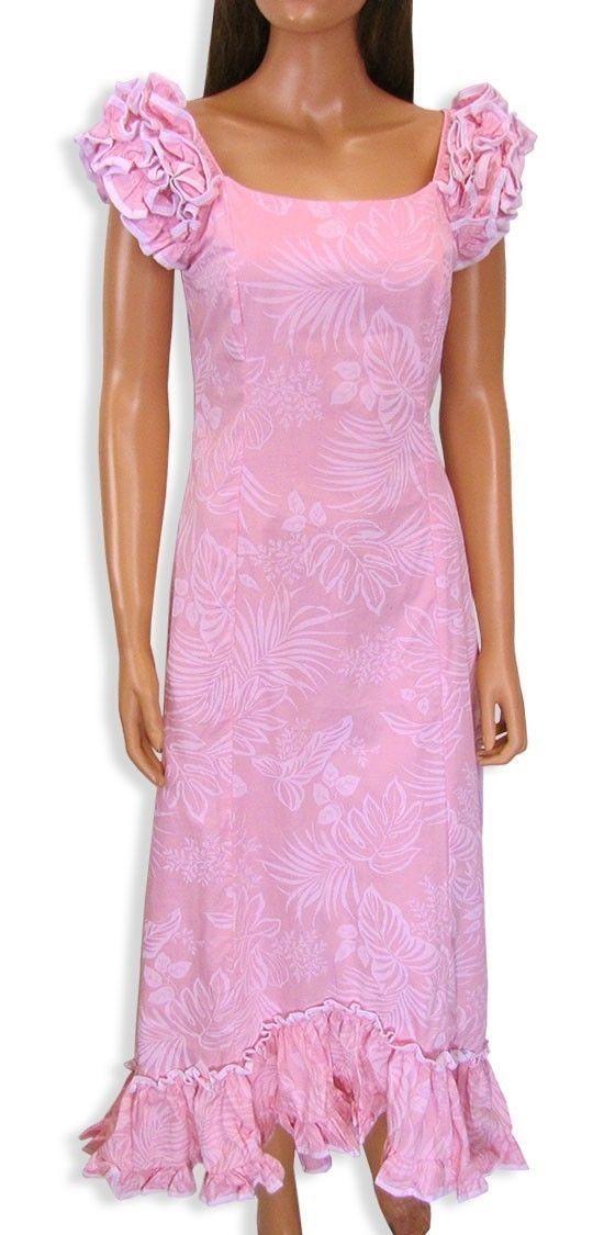 Hawaii Muumuu Dress Island Leaf Plus Size XS 3XL Pink Purple Floral Mumu | eBay