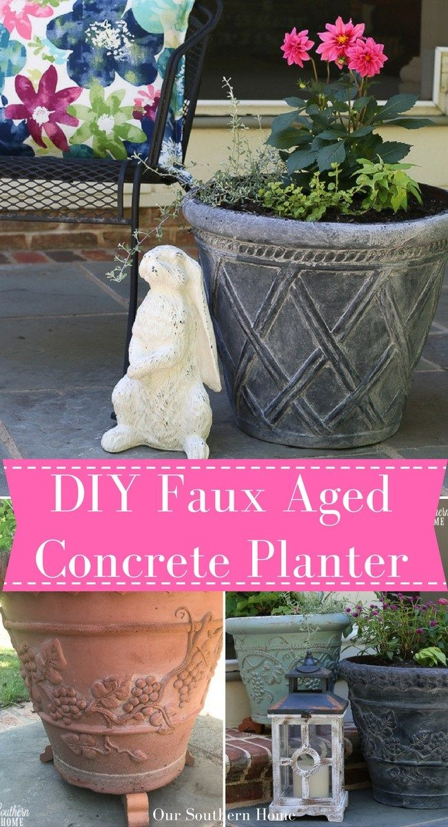 DIY faux aged concrete planter tutorial gives new life to old garden pots