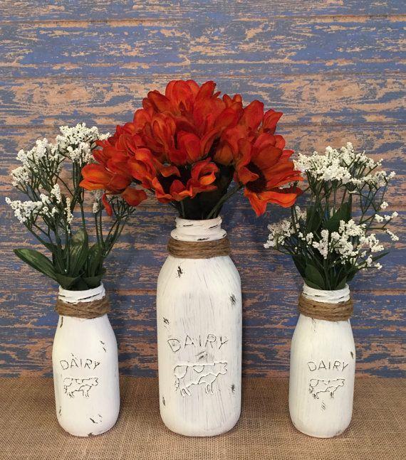 Milk Bottles, Distressed Home Decor, Farmhouse Decor, Old Milk Bottles, Custom Colors!!!