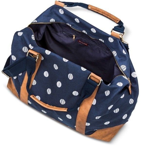 Women's polka Dot Canvas Weekender with removable crossbody strap,... (250 HRK) ❤ liked on Polyvore featuring bags, navy bag, polka dot bag, canvas weekender, canvas overnight bag and merona