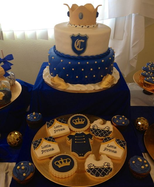 Lovely cake and cookies at a Royal Prince Baby Shower! See more party ideas at CatchMyParty.com