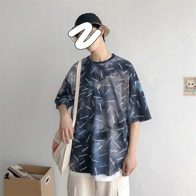 New Summer Short-sleeved Mens Trend Loose Casual pattern Printing Hiphop T-shirt