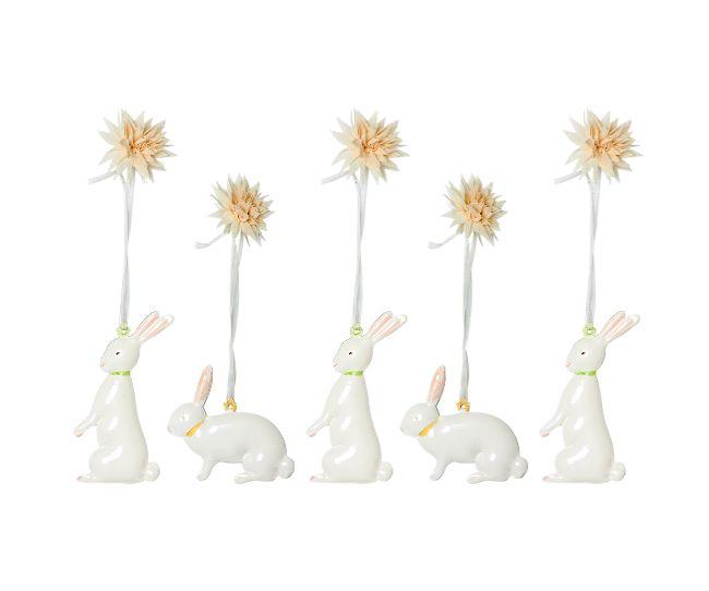 5 Easter Metal Bunnies in box