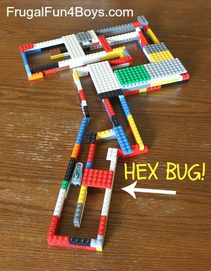 Christmas gift: bundle a set of Hex bugs and LEGOs. This is a fantastic engineering challenge!  There is a video in the post that shows how it works.  My son is now working to figure out how to get his hexbug to go up a Lego ramp - hasn't perfected it yet, but it's a great project.
