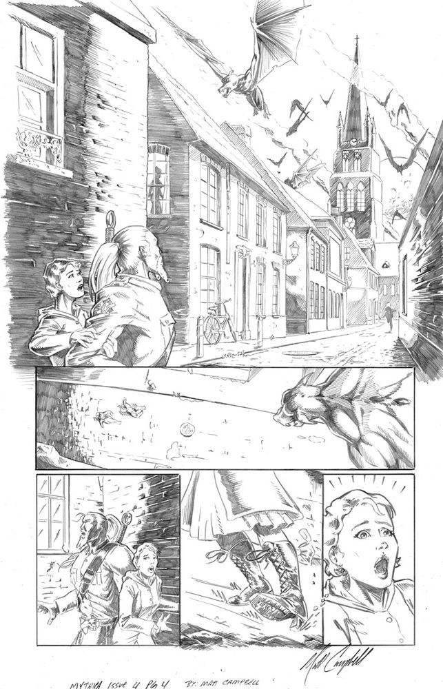 Orignal comic book interior page from Mythica issue 4 by Matt Campbell