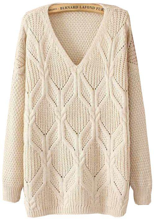 Beige Long Sleeve V Neck Sweater US$31.14