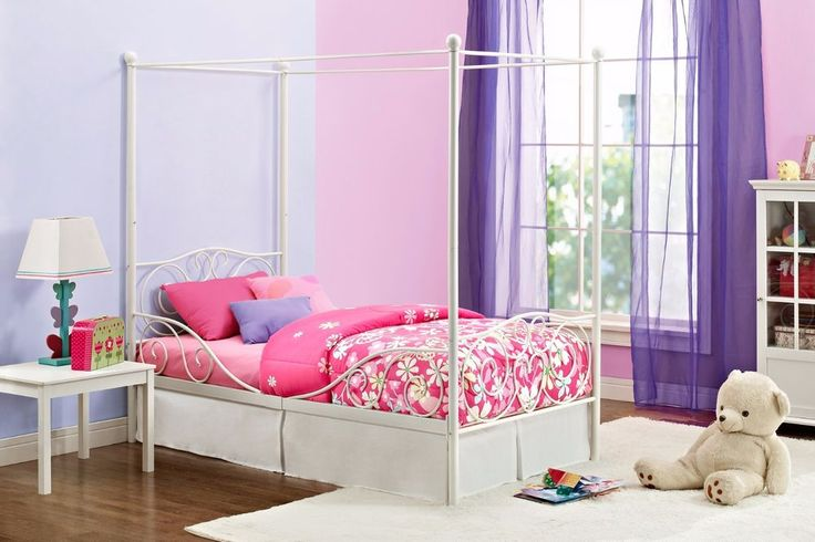 Metal Twin Canopy Bed Frame Bedroom Furniture Girls Princess Cinderella White