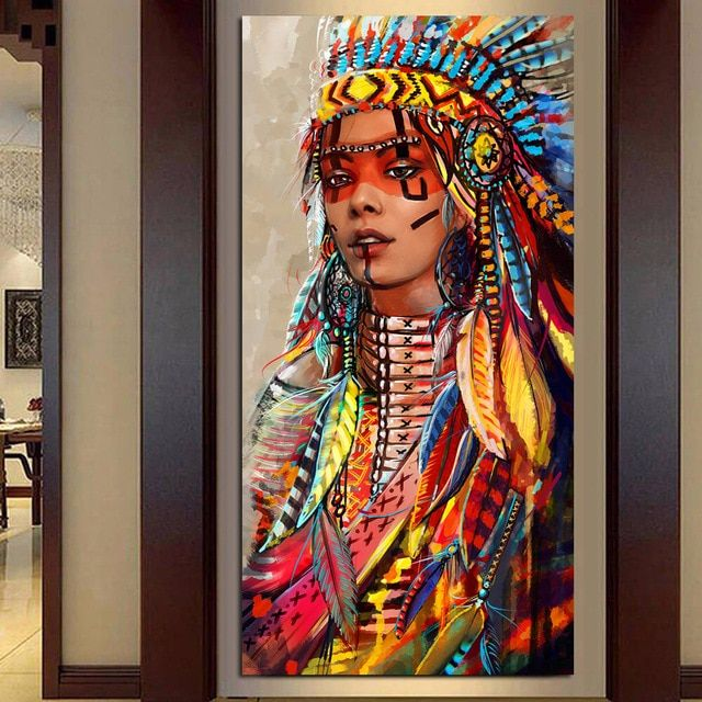 Wall Art Native American Indian Girl Feather Woman Portrait Canvas Painting For Living Room Home Dec American Indian Girl Native American Girls Female Portrait