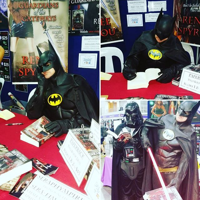 This is #priceless, #Supanova2016 #Brisbane #Batman & #Darthvader dropped by my #BookSigning #Seraphympire table to #sign & #read my #books, this was so funny, it made my day, we laughed so much, #Cosplayers are #unreal, I #love the way they just get into #character. Come down to the #Brisbane  Exhibition & Convention centre & see the #Cosplay #costumes & maybe drop by my table & have a chat & perhaps buy a #signed copy of my #novels.