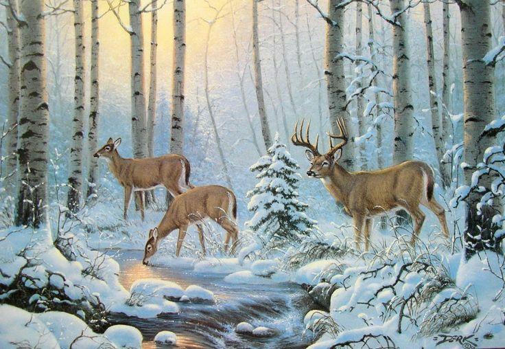 Leanin Tree Derk Hansen Deer Buck Doe Snow Stream River