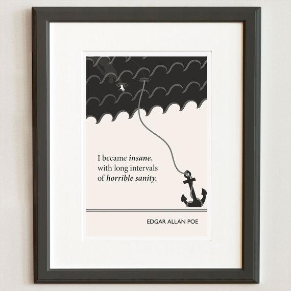 Original Illustration Edgar Allan Poe quotation  by ObviousState, $24.00
