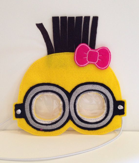 Minion Inspired Mask with Bow on Etsy, $12.00