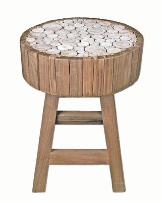 The Eucalyptus Stool from the Chris Bruning Signature Series of designer products is designed as an end table or for seating. The richness of teak wood is blended with eucalyptus branch inlays for an eco rustic chic addition to your loft, condo or lake house retreat.