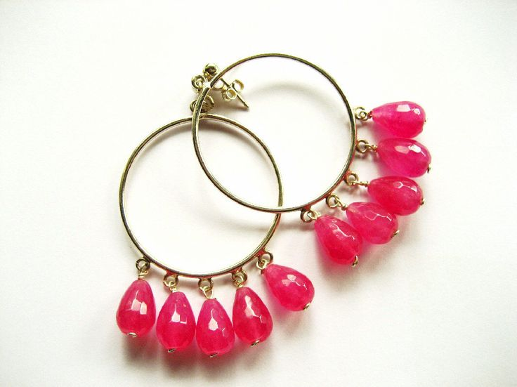 A personal favourite from my Etsy shop https://www.etsy.com/listing/228720658/hoops-gemstone-hoopsfuchsia-agate