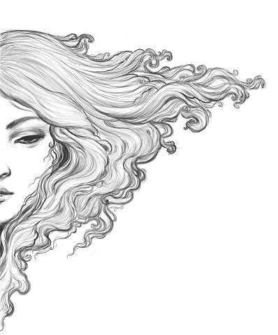 how to draw long flowing hair