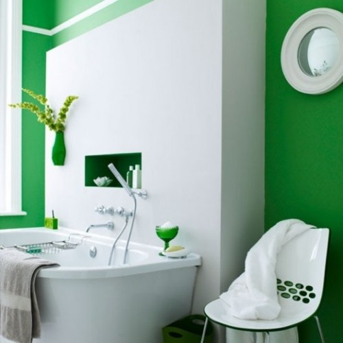Green Modern Bathroom. A great color for St Paddy's Day, or for any day, for that matter! See more great color ideas below at http://www.bathroom-paint.net/bathroom-paint-color.php