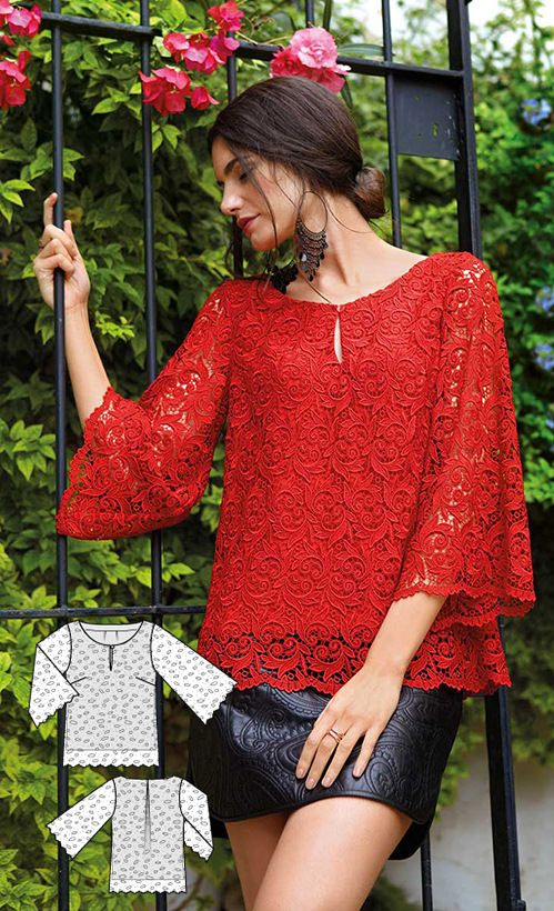Lace Blouse Burda Feb 2016 #102A http://www.burdastyle.com/pattern_store/patterns/trumpet-sleeve-blouse-022016