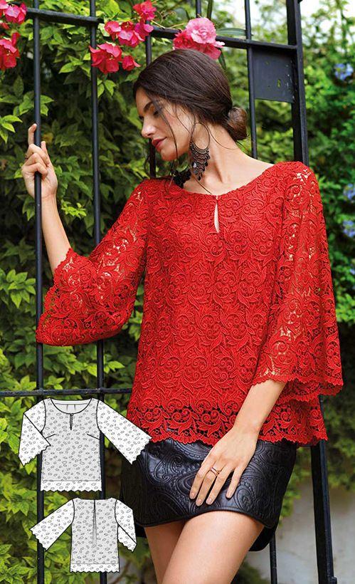 Lace Blouse Burda Feb 2016 #102A http://www.burdastyle.com/pattern_store/patterns/trumpet-sleeve-blouse-022016