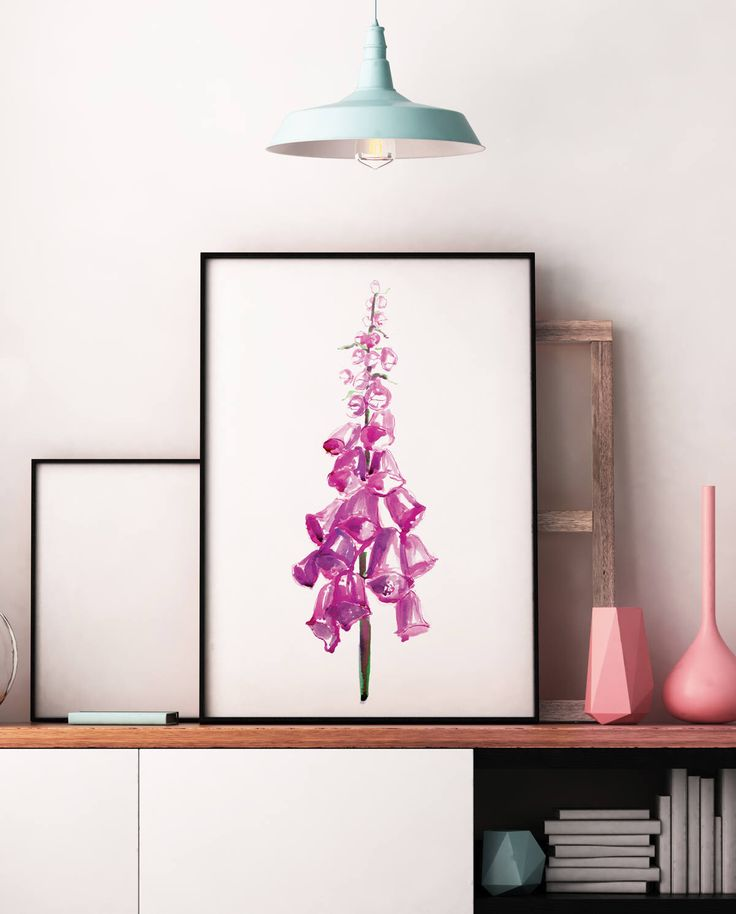 Foxglove wildflower illustration £12.99 wall art print painting pink purple watercolour floral flowers pretty poster boho minimal A4 A3 A2 ANY SIZE by LeonaBethillustrator on Etsy https://www.etsy.com/uk/listing/545190444/foxglove-wildflower-illustration-wall