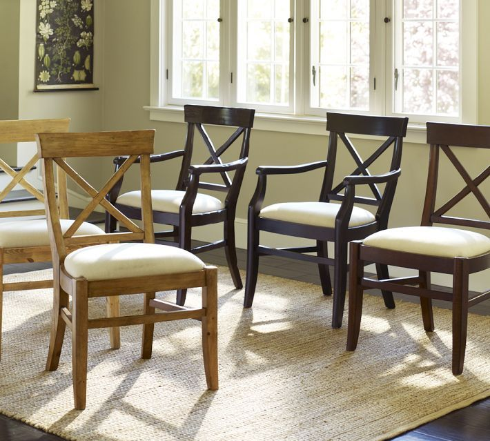 Aaron Upholstered Chair Potterybarn Like The Rustic Pine With Our Table