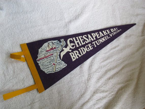 Chesapeake Bay Bridge-Tunnel Pennant by SandrasCornerStore on Etsy