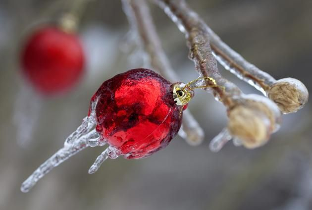 Christmas ornaments are cased in ice following an ice storm in Toronto