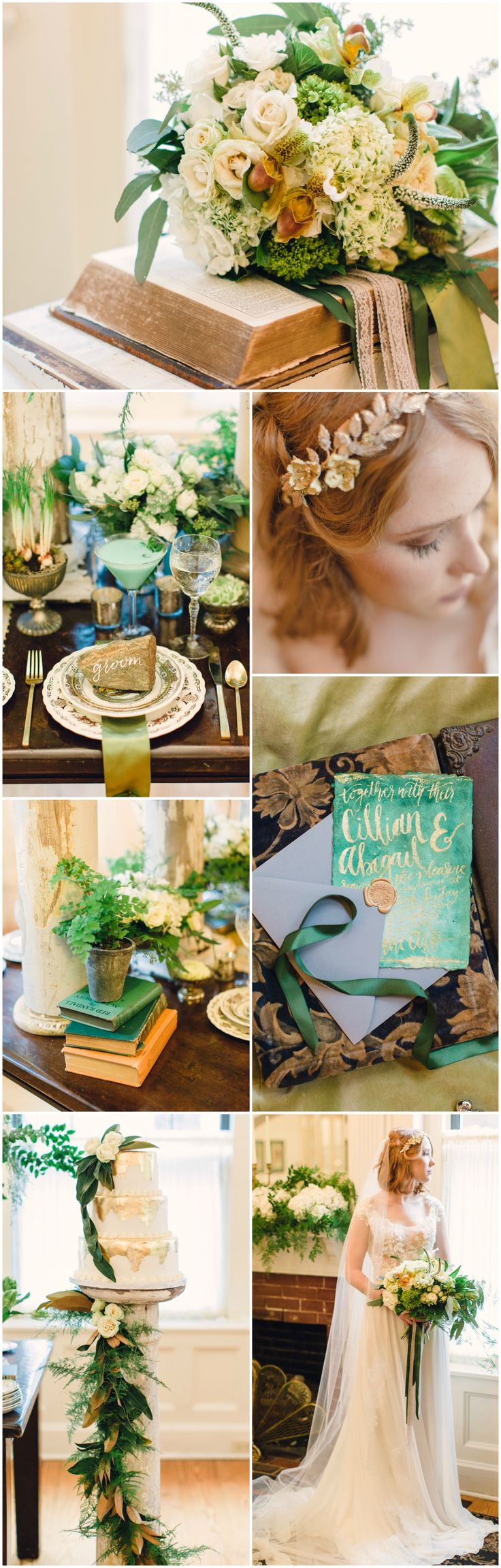 Irish wedding design, green and gold and ivory, vintage details, floral chinaware, wedding cake, watercolor invitation suite // Joanna Fisher Photography