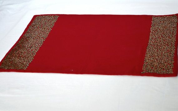 Red placemat with exquisite sequin embroidery  by AmoreBeaute